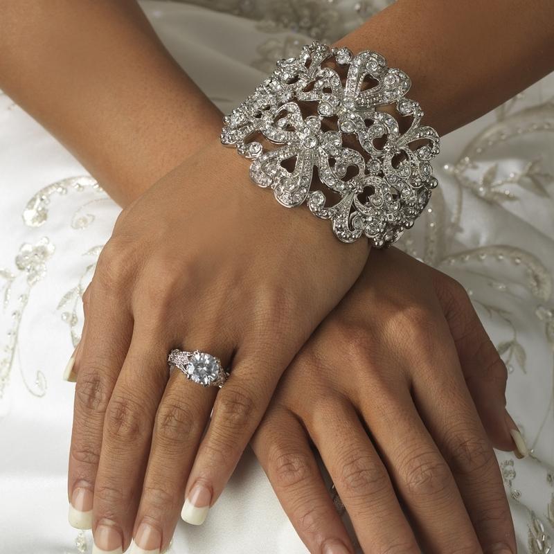 New Vintage Style Glam Rhinestone Bridal Cuff Bracelet Palmfront Your Online Wedding Catalogue